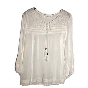 Solitaire Sheer White Peasant Top Women's Size 1X